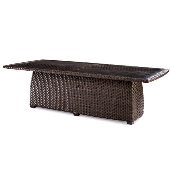 """Leeward 97"""" square/round wicker dining table with aluminum top"""