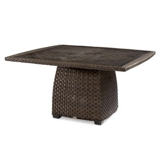 "Leeward 54"" wicker dining table with aluminum top"