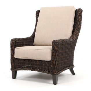 Geneva wicker club chair with a Chestnut finish
