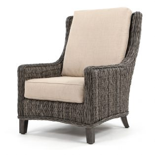Geneva outdoor wicker club chair with a Smoke finish