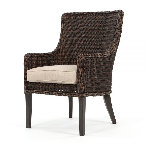 Geneva wicker dining arm chair with a Chestnut finish