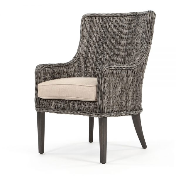 Geneva outdoor dining arm chair with a Smoke finish