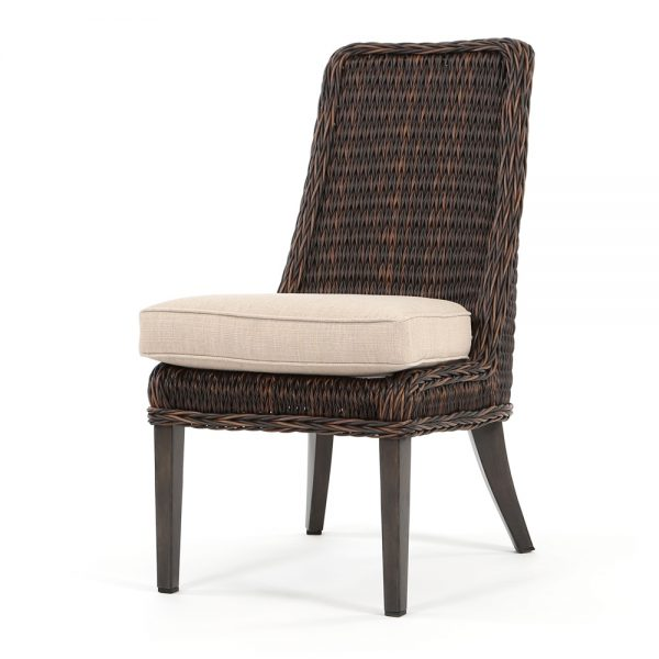 Geneva wicker dining side chair with a Chestnut finish