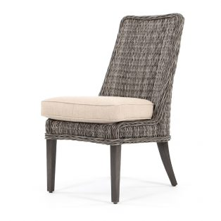 Geneva outdoor wicker dining side chair with a Smoke finish