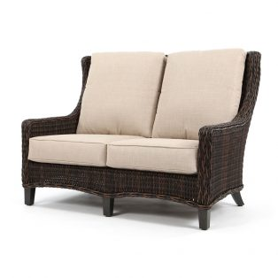 Geneva outdoor wicker loveseat with a Chestnut finish