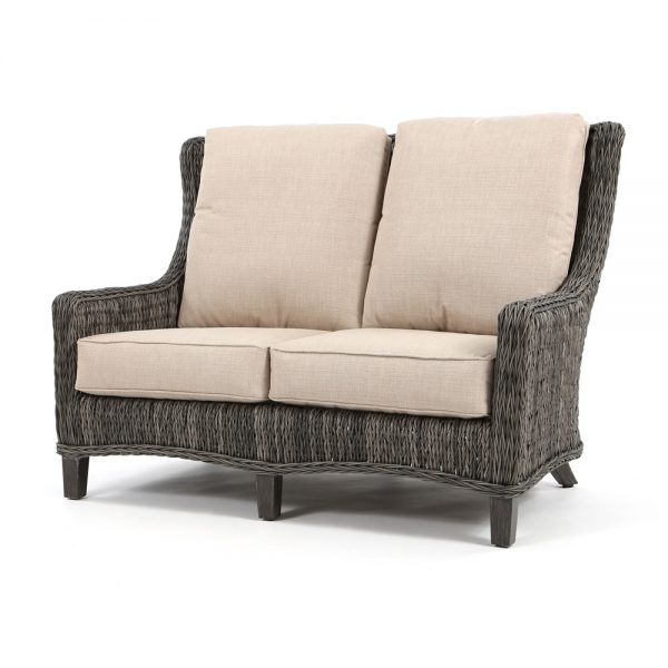 Geneva outdoor wicker loveseat with a Smoke finish