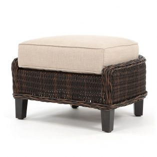 Geneva outdoor wicker ottoman with a Chestnut finish
