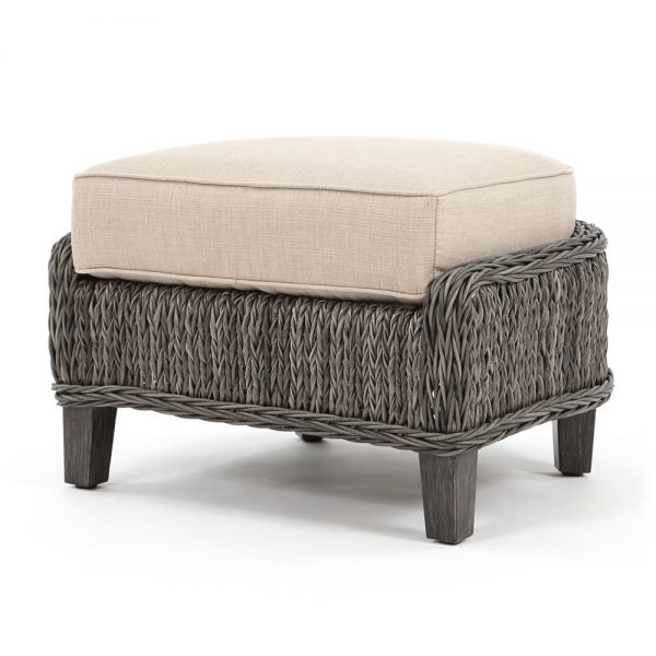 Geneva wicker patio ottoman with a Smoke finish