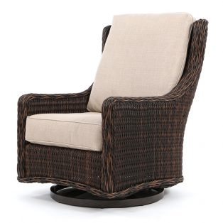Geneva wicker swivel gliding club chair with a Chestnut finish