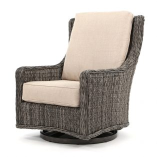 Geneva wicker swivel gliding club chair with a Smoke finish