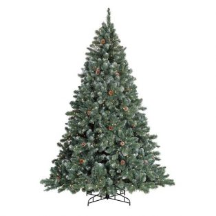 7.5' Glacier deluxe one plug Christmas tree with cones and clear lights