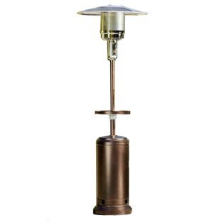 Patio heater with table and wheels in bronze finish