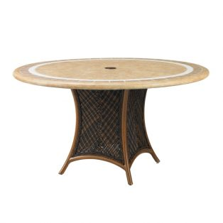 "Island Estate Lanai 54"" round stone top dining table with Weatherstone tope"