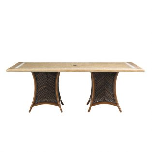 "Island Estate Lanai 84"" x 44"" rectangle dining table with Weatherstone top"