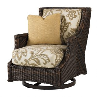 Island Estate Lanai swivel lounge chair and throw pillow