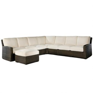 Leeward large outdoor wicker sectional with ottoman