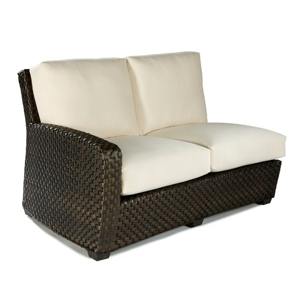 Leeward LHF wicker sectional loveseat with cushions