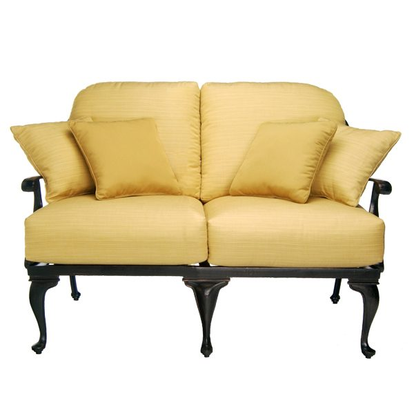 Summer Classics Provance cast aluminum loveseat with cushions and throw pillows
