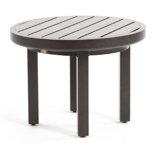 "Mallin aluminum 24"" round slat top outdoor end table"