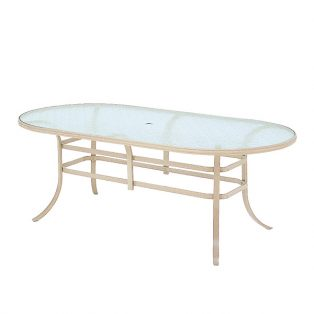 """Mallin 42"""" x 84"""" Oval Dining Glass Top Table"""