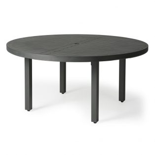 "60"" round aluminum slat top dining table"