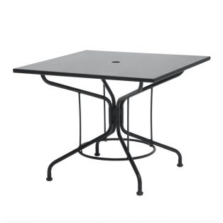 "Mercury 36"" square solid top dining table with Textured Black finish."