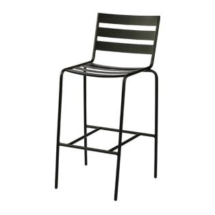Metro stationary bar stool with a Textured Black finish