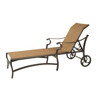 Monterey Sling adjustable chaise lounge with wheels with Corcovado Oak sling fabric