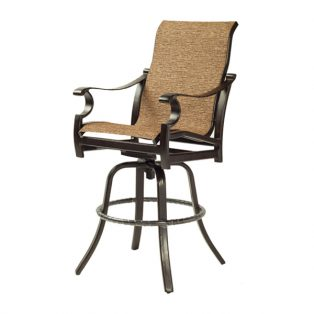 Monterey Sling high back swivel bar stool with Corcovado Oak sling fabric