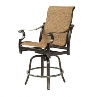 Monterey Sling high back swivel counter stool with Corcovado Oak sling fabric