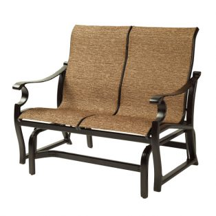 Monterey Sling loveseat glider with Corcovado Oak sling fabric