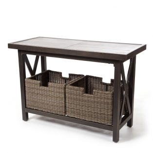 Oak Grove sofa table with woven baskets