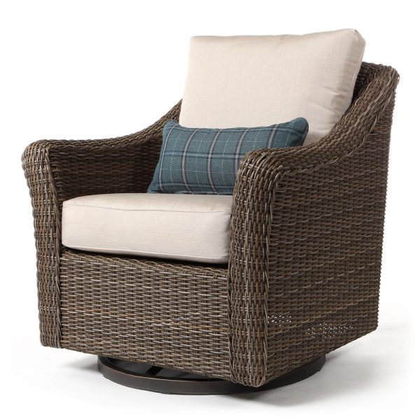 Oak Grove swivel glider club chair with kidney pillow