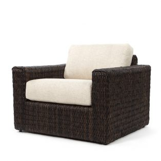 Orsay club chair with Espresso weave and Chartres Malt cushions