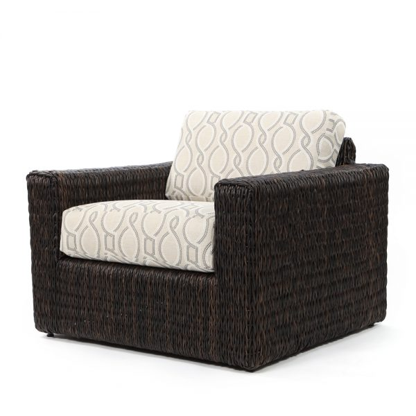 Orsay club chair with Espresso weave and Twist Smoke cushions