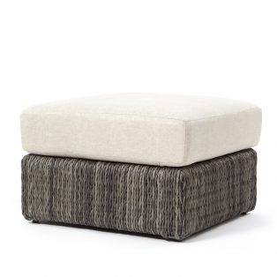 Orsay ottoman with Smoke weave and a Chartres Malt cushion