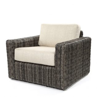 Orsay club chair with Smoke weave and Chartres Malt cushions