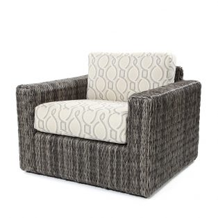 Orsay club chair with Smoke weave and Twist Smoke cushions