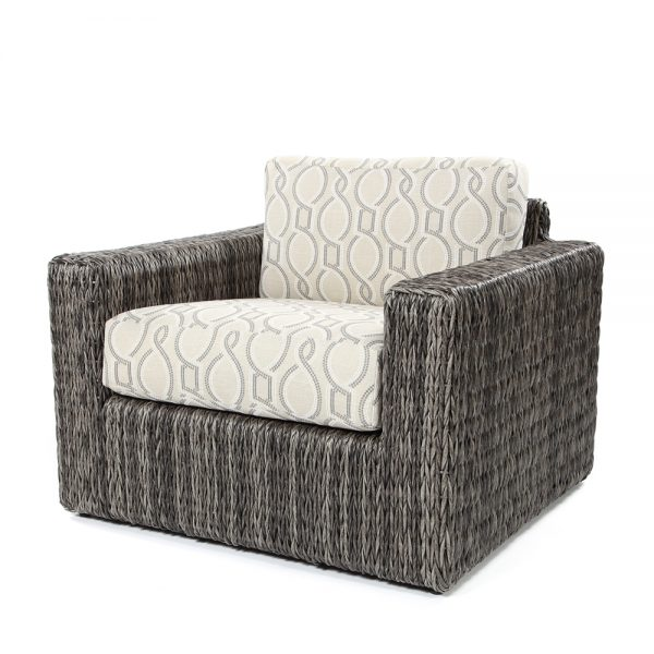 Orsay club chair with Smoke weave and Twist Smoke cushions