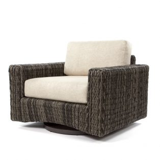 Orsay swivel club chair with Smoke weave and Chartres Malt cushions