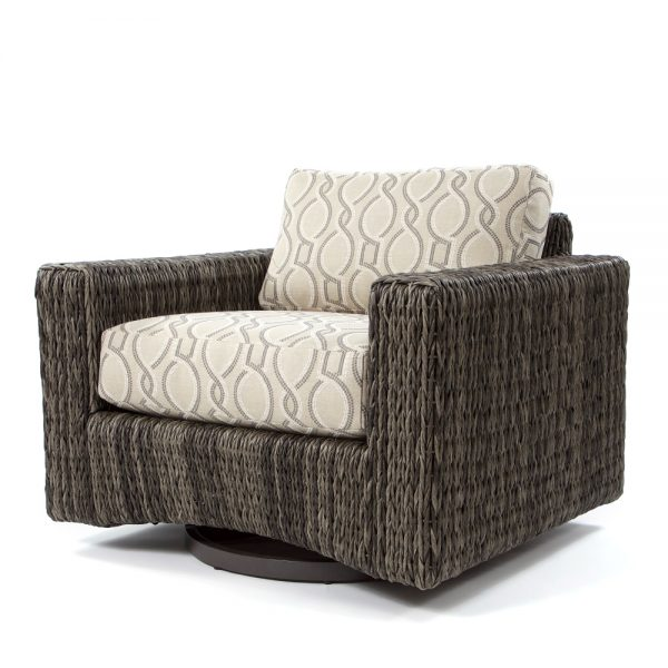 Orsay swivel club chair with Smoke weave and Twist Smoke cushions