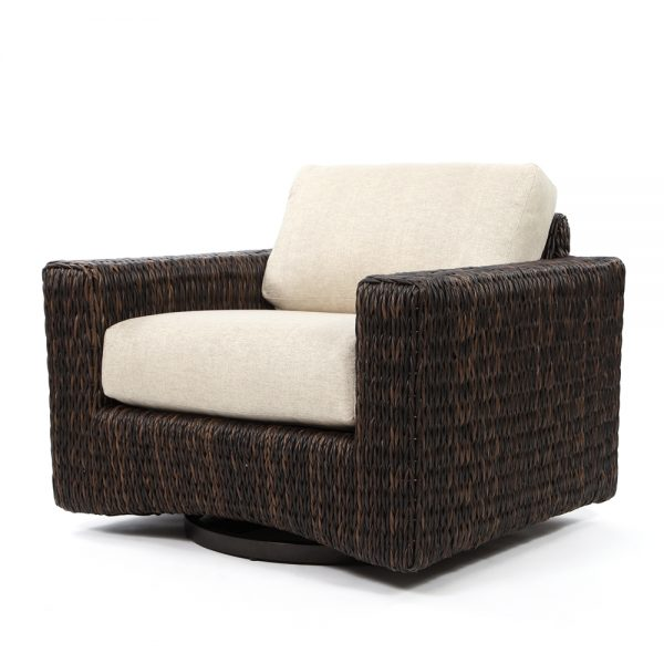 Orsay swivel glider club chair with Espresso weave and Chartres Malt cushions