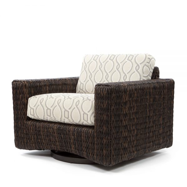Orsay swivel club chair with Espresso weave and Twist Smoke cushions
