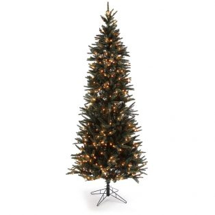 12' Pencil one plug artificial Christmas tree - clear lights
