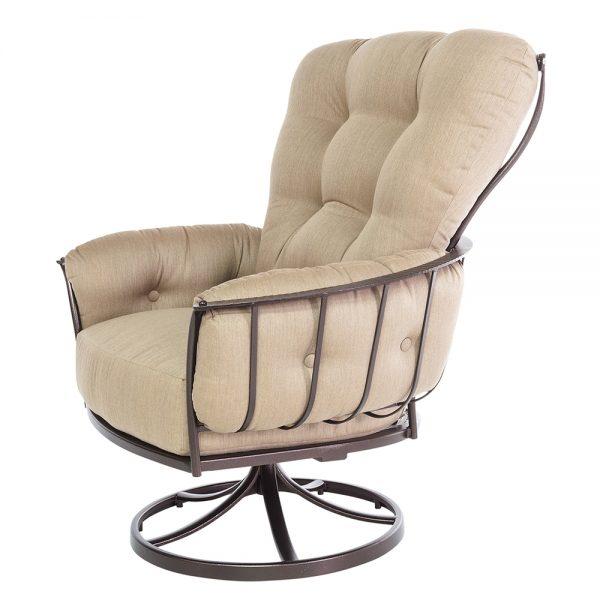 Monterra swivel rocker lounge chair with Sahara Cafe cushions