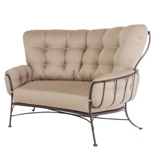 Monterra crescent love seat with Sahara Cafe cushions
