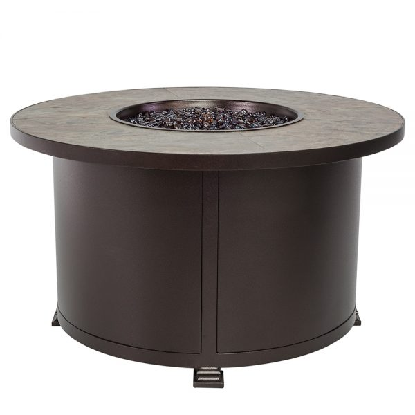 "42"" Round Santorini fire pit with a Rustic Slate top"