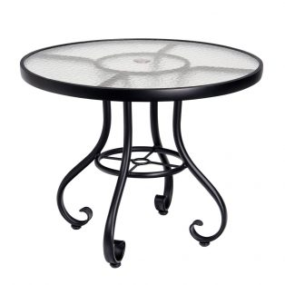 "Ramsgate 48"" round glass top dining table with umbrella hole"