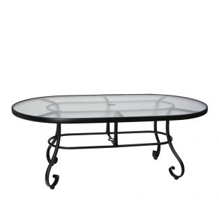 "Ramsgate 42"" x 74"" oval glass top dining table"