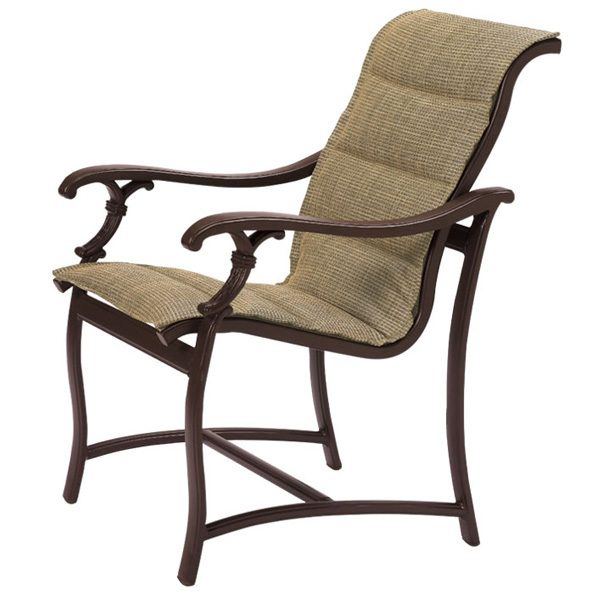Tropitone Ravello padded sling aluminum dining chair